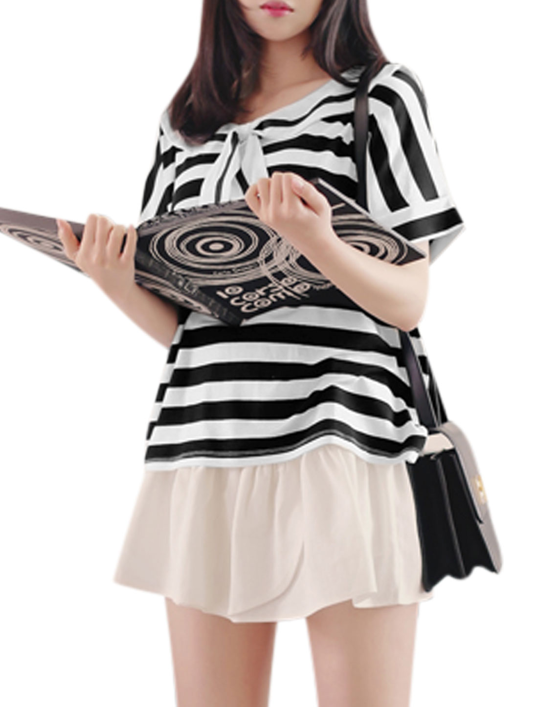 Woman Stripes Turn Down Collar Tie Bow Front Short Sleeves Top Black White XS