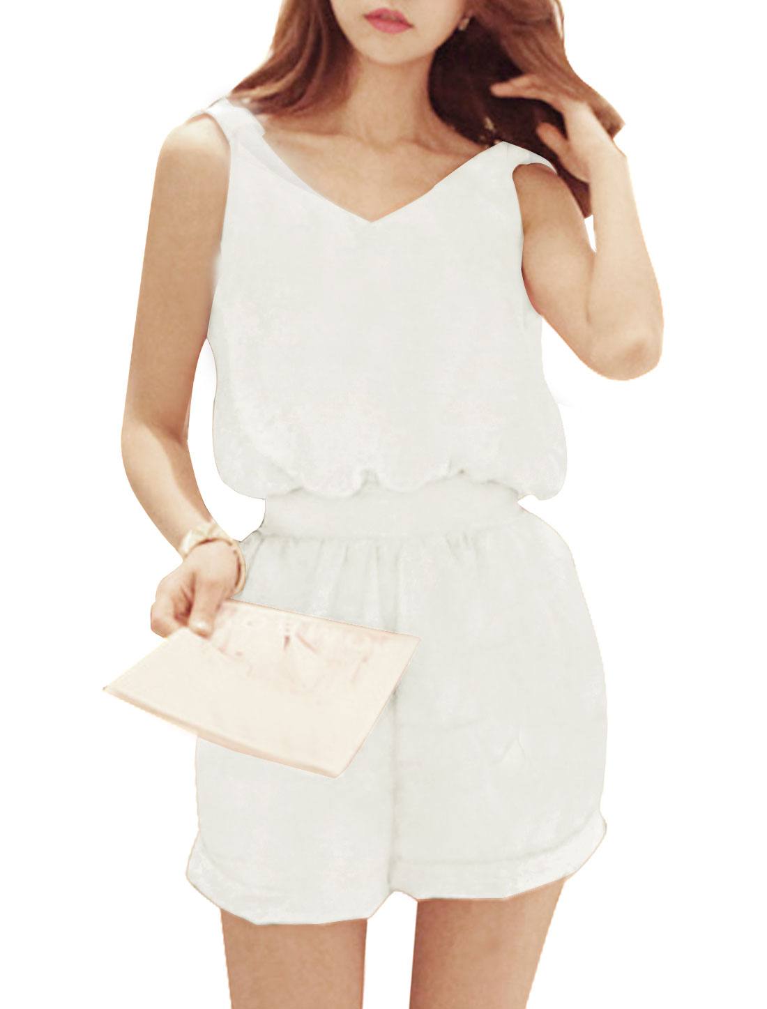 Woman Sleeveless Self Tie Waist Pockets Cut Out Back Summer Playsuit White S