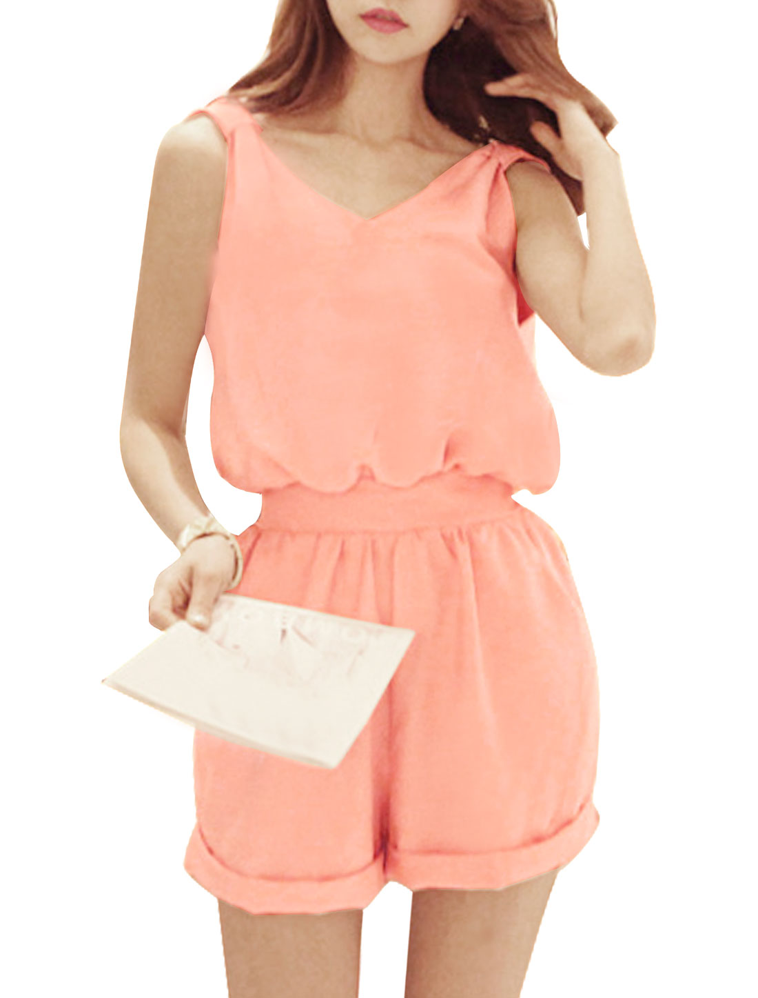 Ladies Sleeveless V Neck Self Tie Waist Pockets Casual Romper Pink S