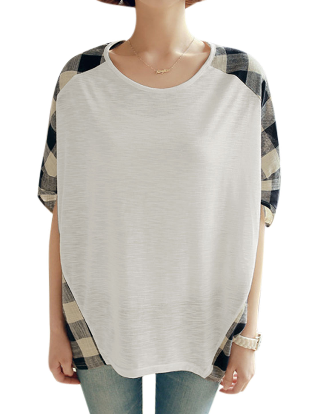 Woman Plaids Round Neck Short Batwing Sleeves Tunic Top White M
