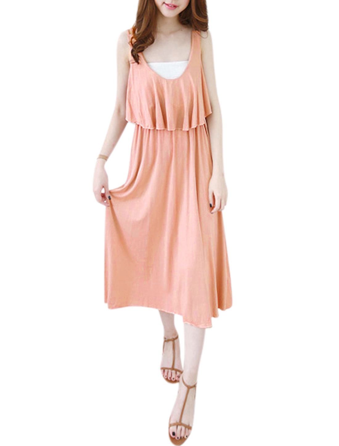 Women Sleeveless Scoop Neck Cape Style Casual Dresses Pale Pink M