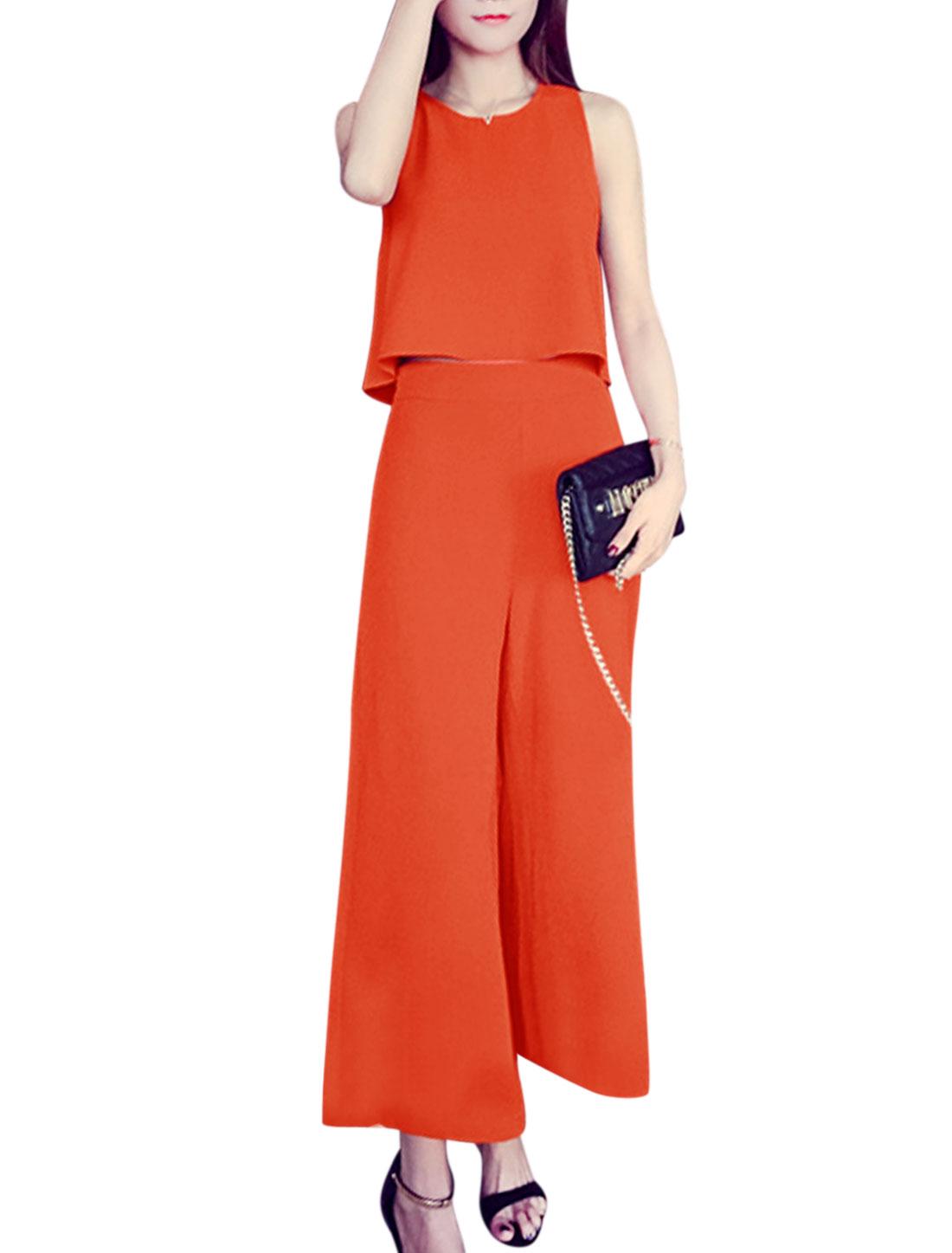 Women Sleeveless Loose Tops w Wide Leg Cropped Pants Set Orange Red S