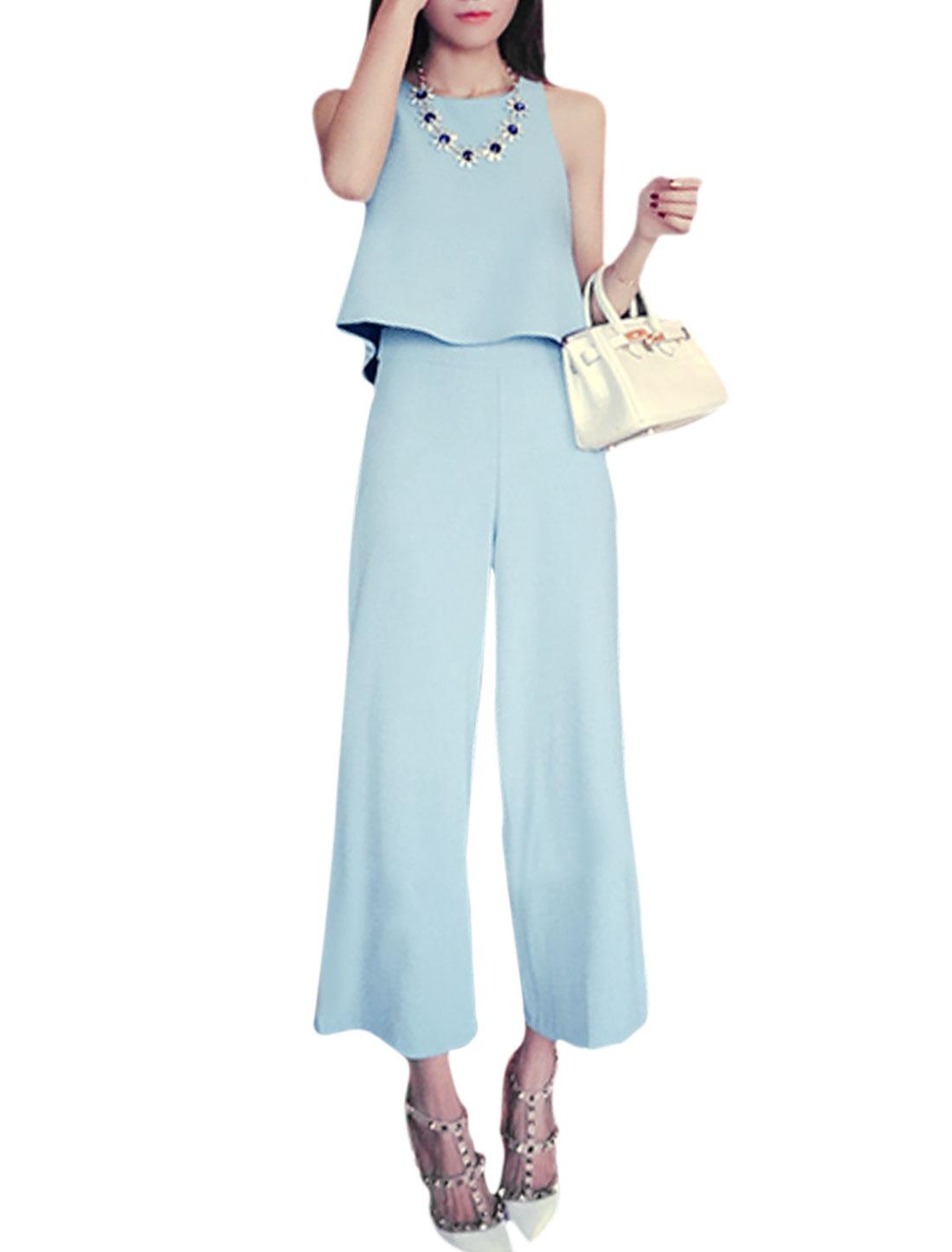 Ladies Loose Top w Zip Fly Wide Leg Casual Cropped Pants Set Sky Blue XS