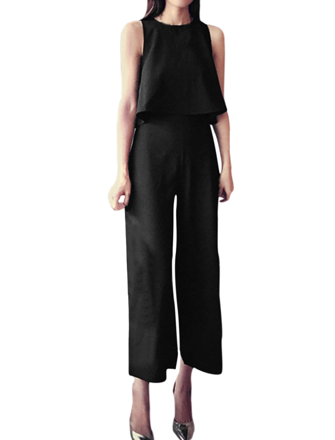 Ladies Sleeveless Tops w Wide Leg Casual Cropped Trousers Set Black XS