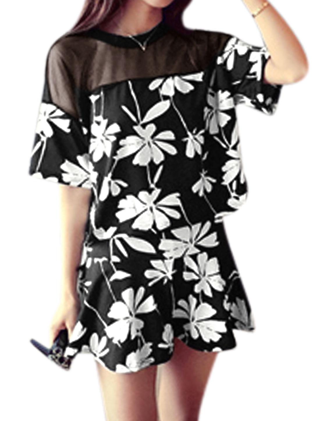 Woman Mesh Panel Floral Prints Top w Elastic Waist Skirt Set Black XS