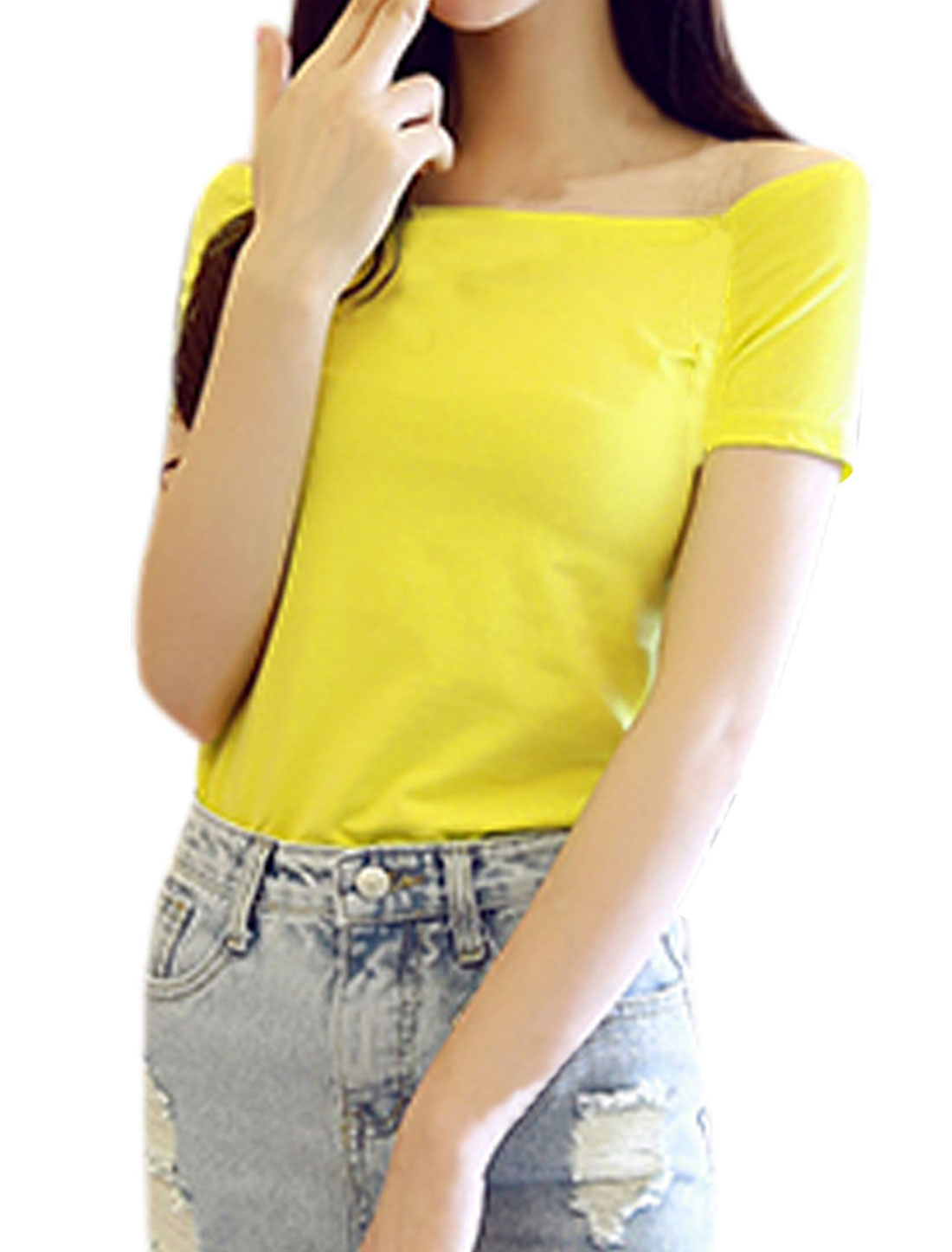 Ladies Short Sleeve Off Shoulder Summer T Shirt Yellow S