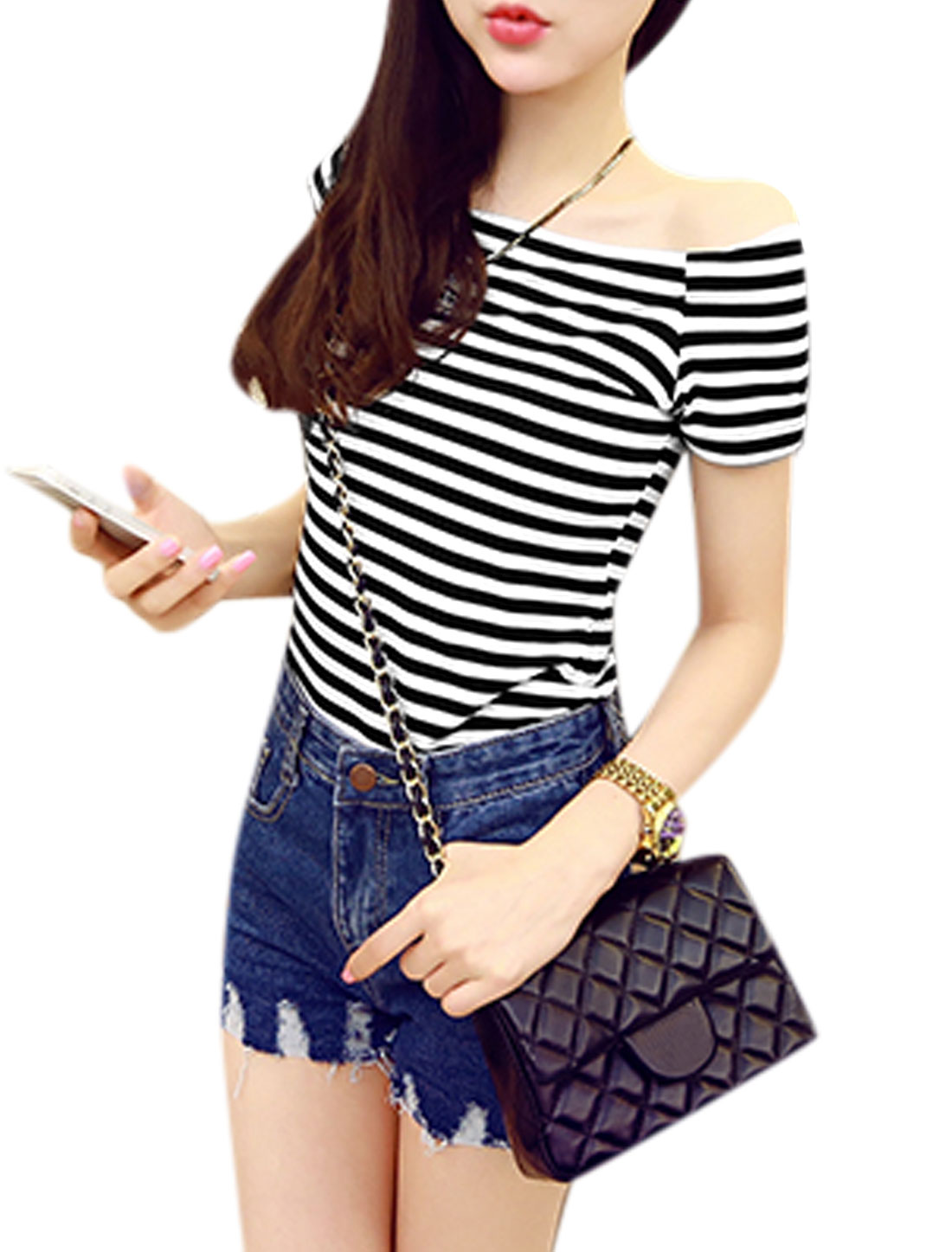Women Short Sleeve Off Shoulder Stripes Casual T Shirts Black White S