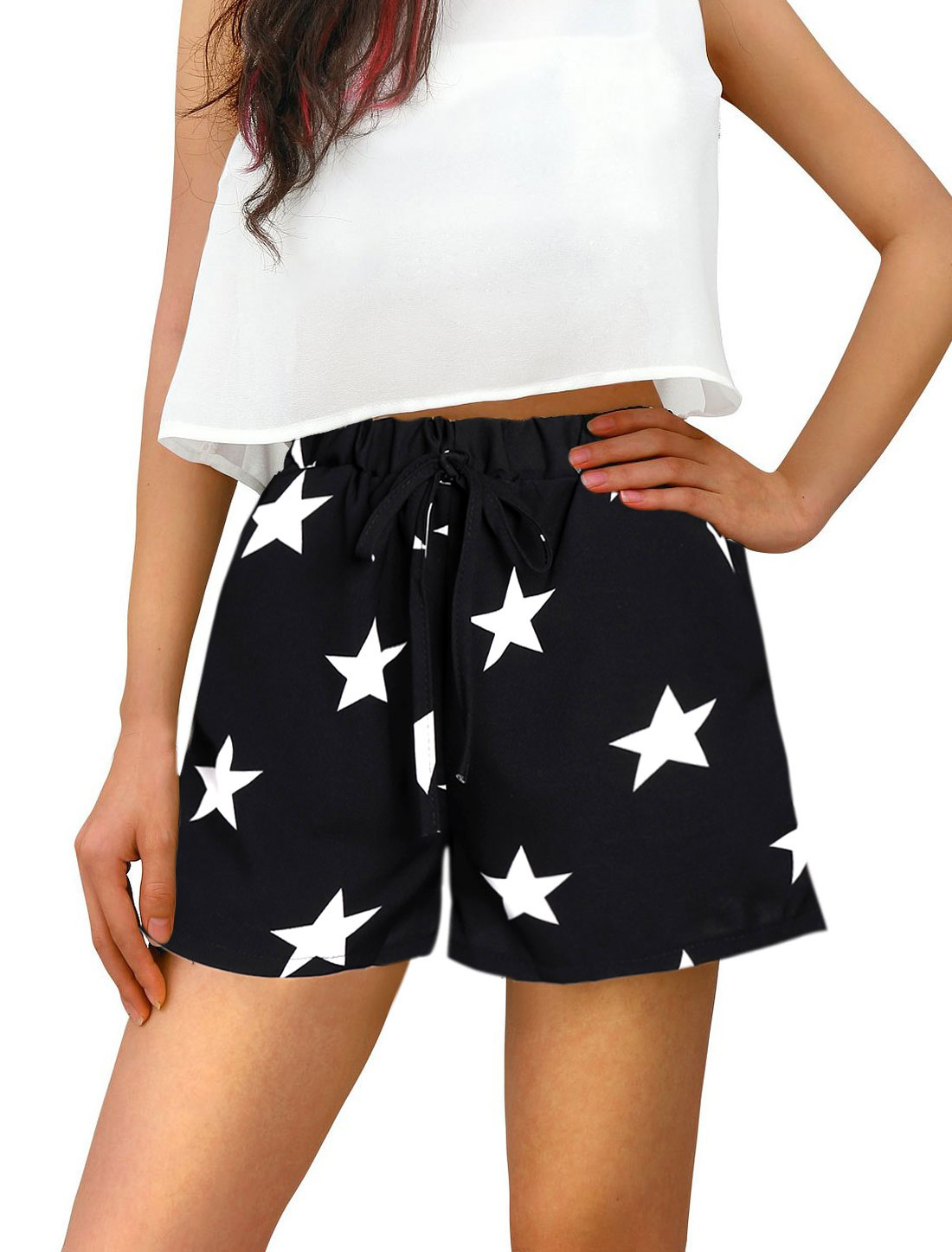 Women Stars Prints Elastic Waist Drawstring Casual Shorts Black XS