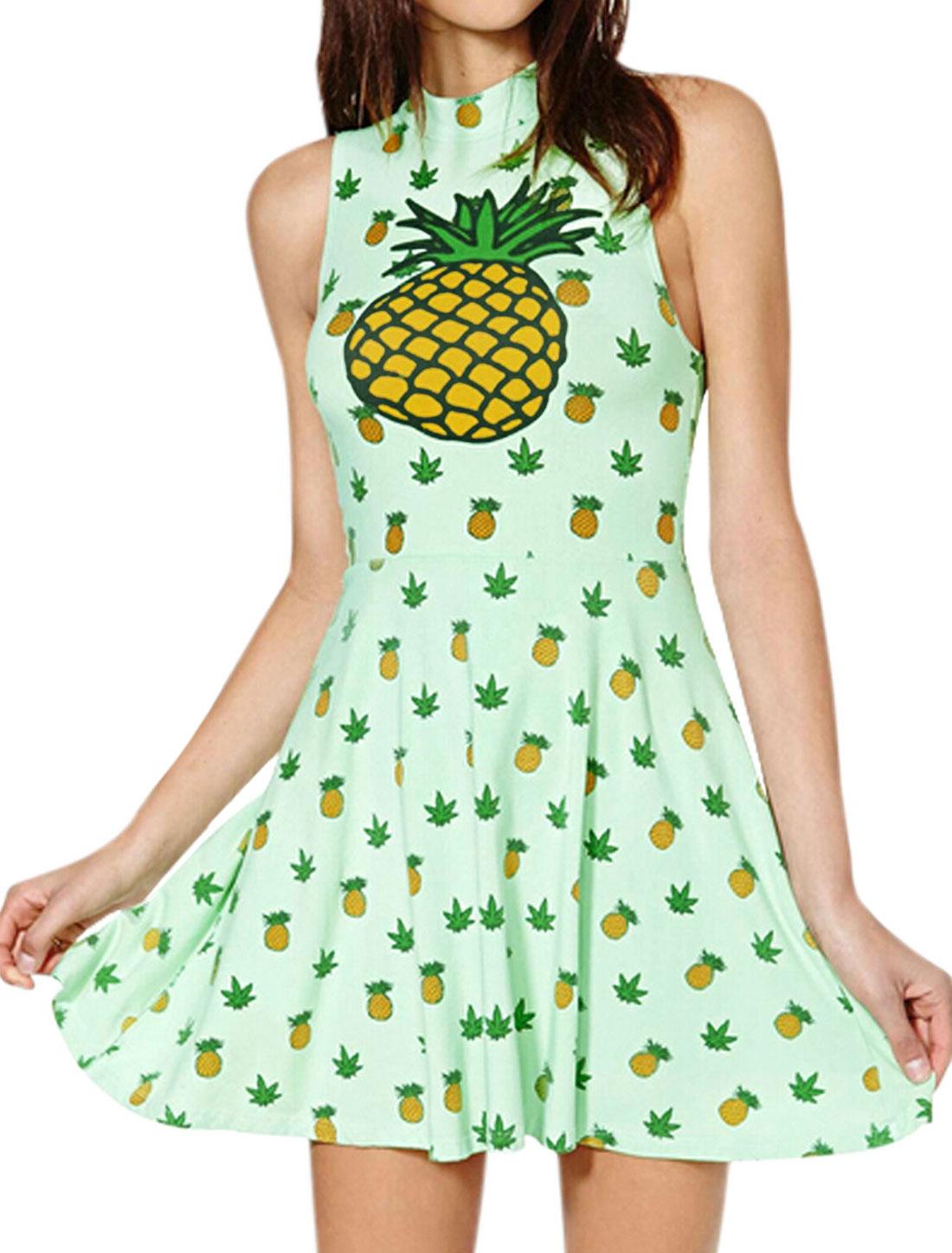Women Stand Collar Pineapple Prints Sleeveless A Line Dress Mint M
