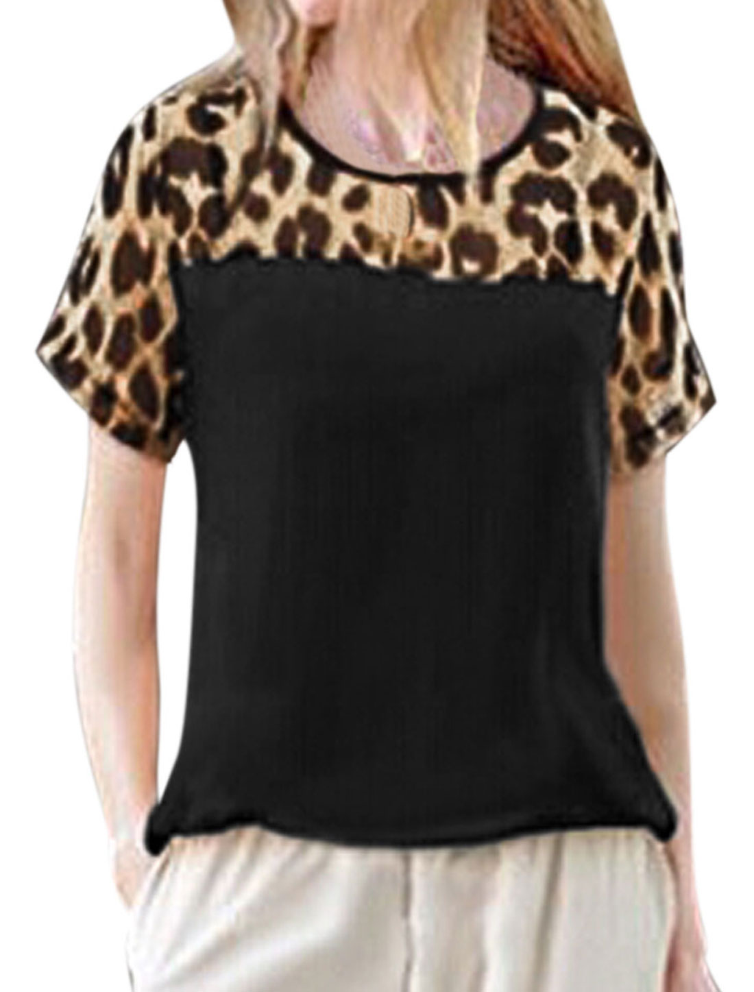 Ladies Short Sleeve Round Neck Leopard Prints Casual T-Shirt Black M