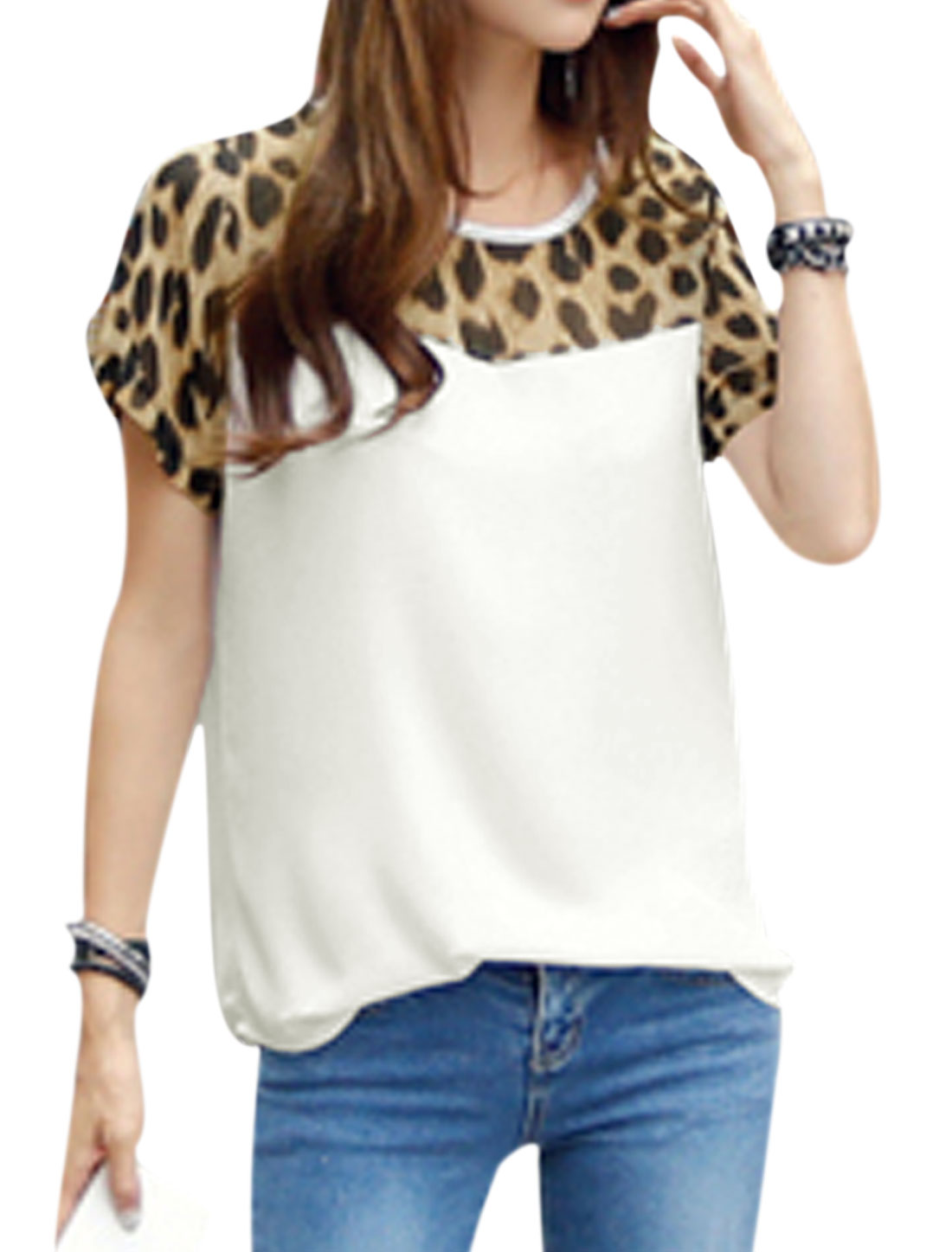 Women Short Sleeve Leopard Prints Semi Sheer Casual Tee White XS