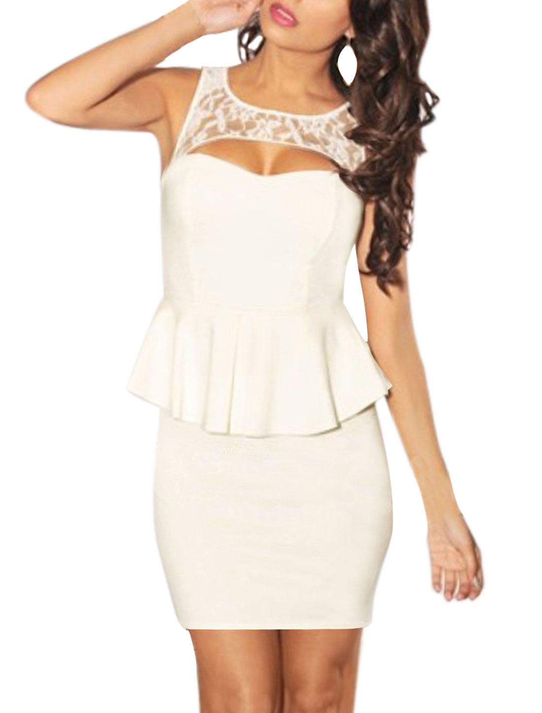 Women Clubwear Cut Out Lace Panel Sleeveless Peplum Dress White XS