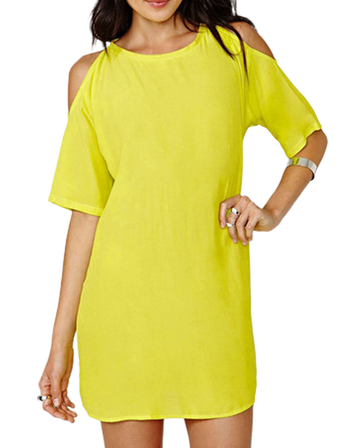 Women Round Neck Cut Out Shoulder Loose Casual Chiffon Dresses Lemon S