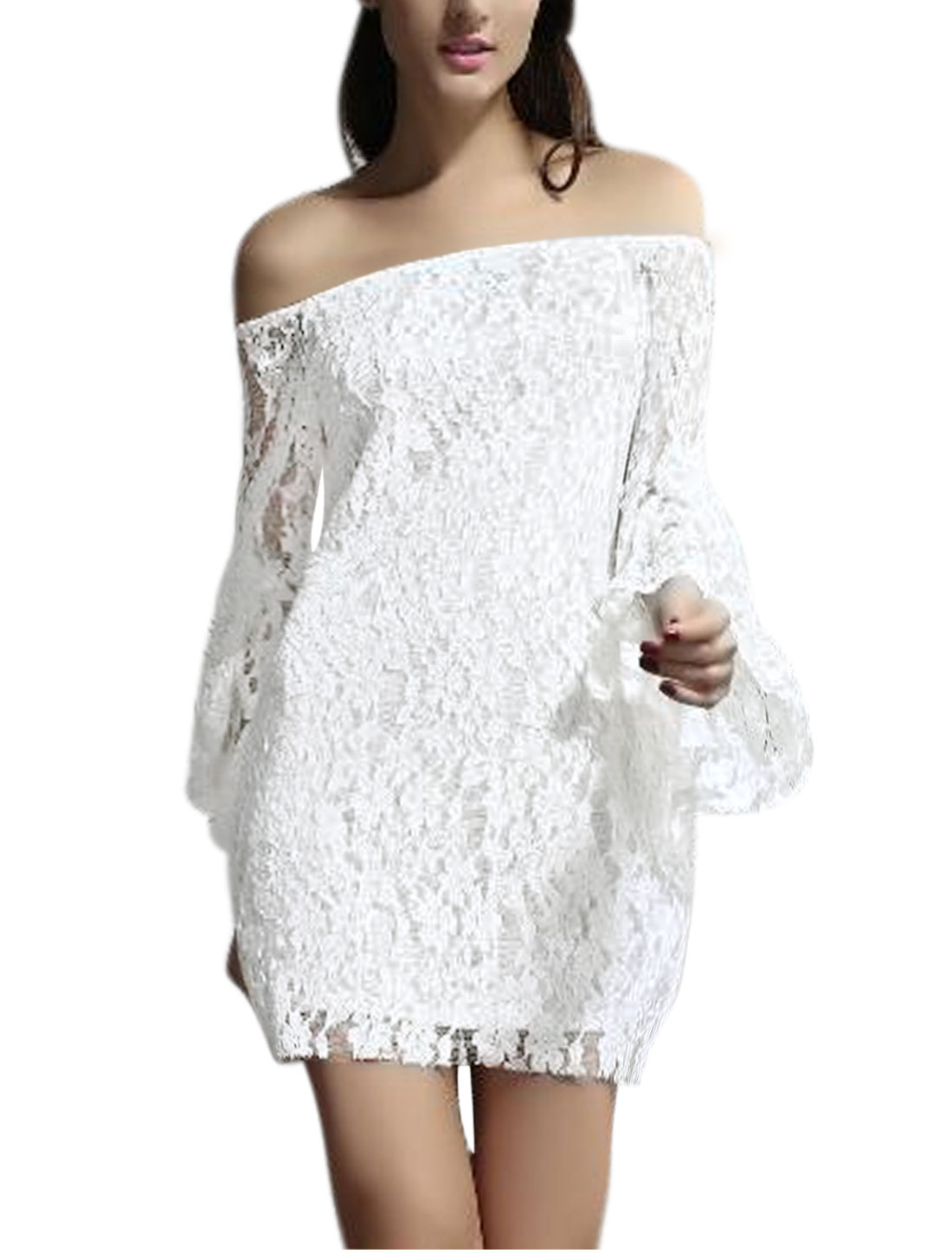 Women Off Shoulder Semi Sheer Long Sleeves Lace Dress White XS