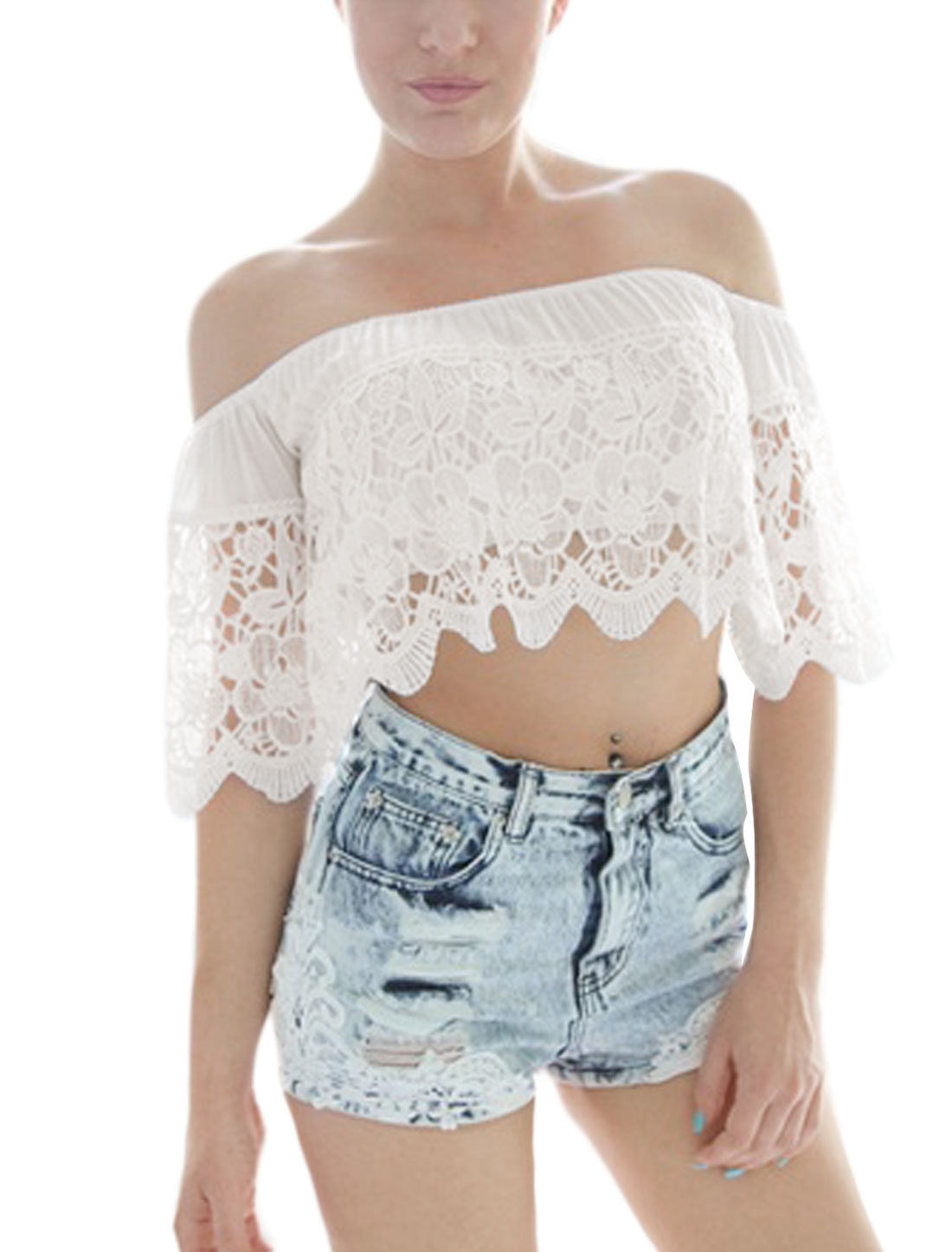Women Off Shoulder Elbow Sleeves Crochet Cropped Tops White XS