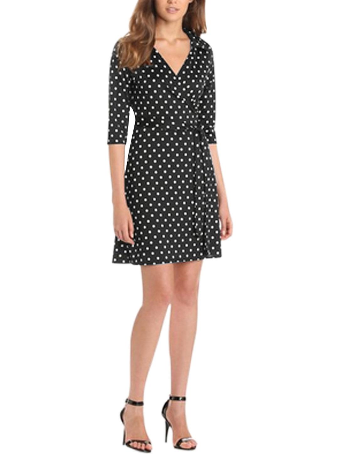 Women Crossover V Neck Dots Prints 3/4 Sleeves A Line Dress Black L