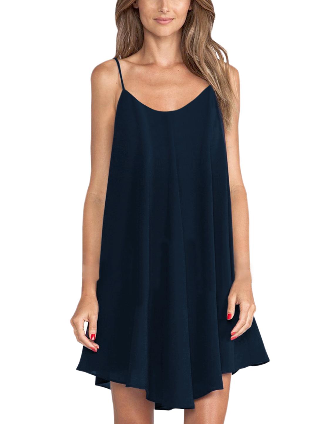 Women Scoop Neck Open Back Sleeveless A Line Dress Navy Blue XS