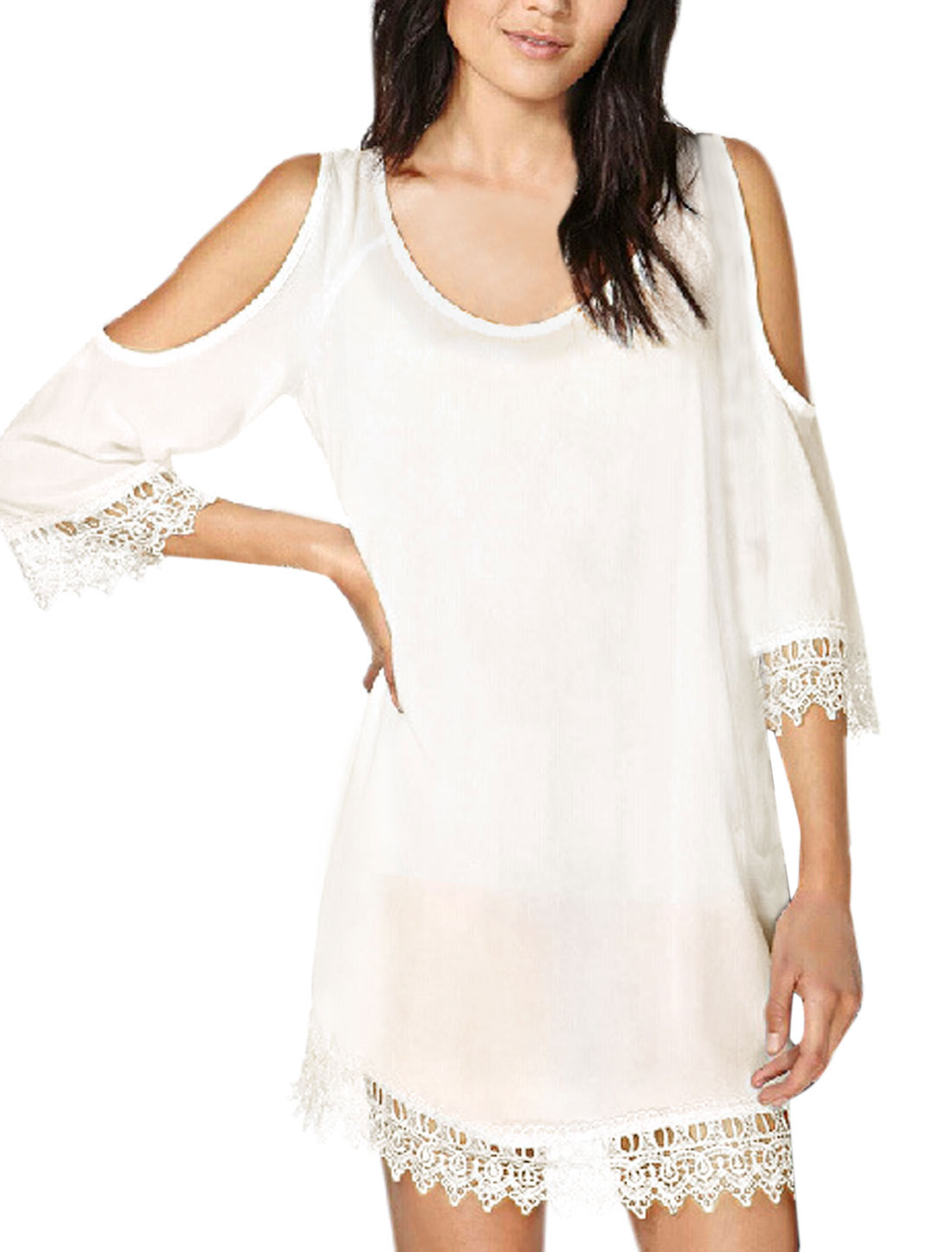 Women Scoop Neck 3/4 Sleeves Open Back A Line Dress White S