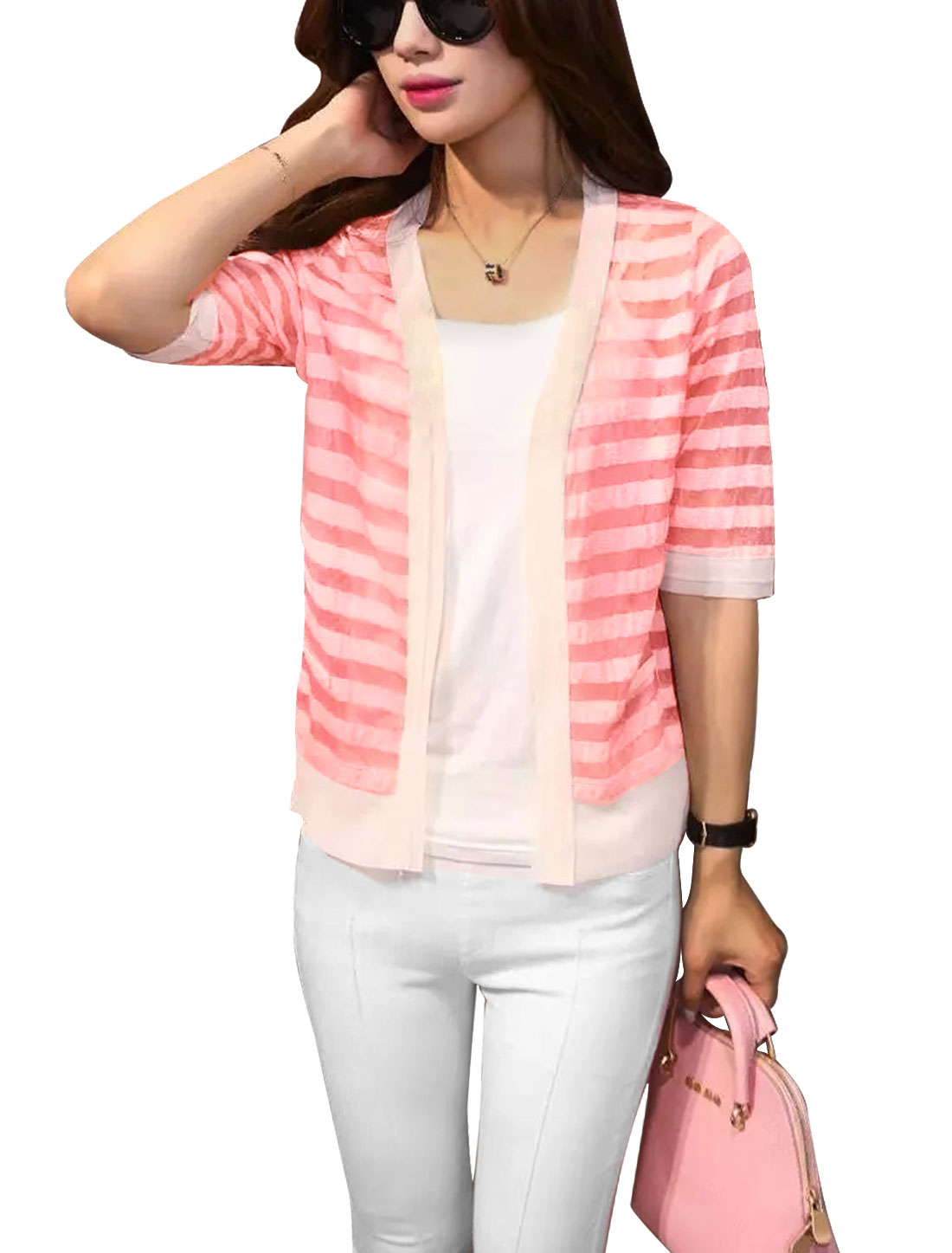 Lady Stripes Design Half Length Sleeves Mock Pockets Cardigan Pink XS