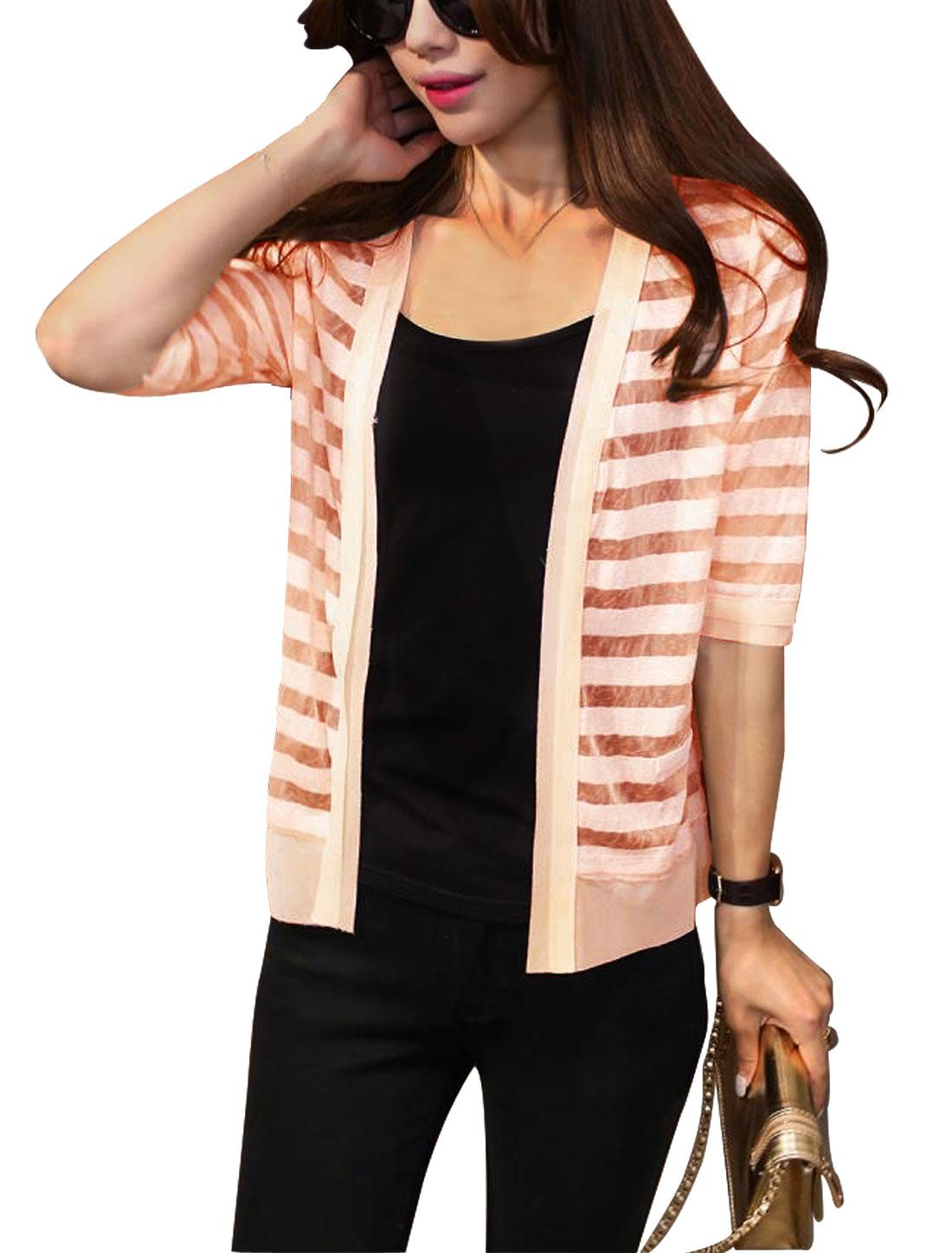 Woman Stripes Design Half Length Sleeves Open Front Panel Cardigan Light Oran