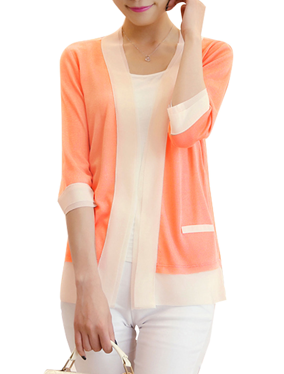 Women Open Front 3/4 Sleeves Mock Pockets Cardigan Salmon XS