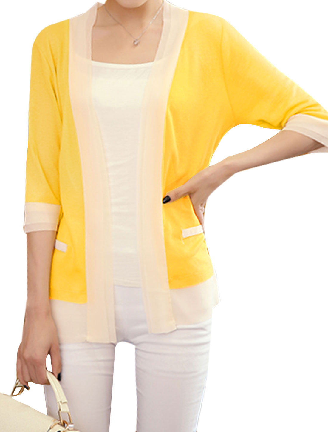 Ladies Buttonless Panel Design 3/4 Sleeves Cardigan Yellow XS