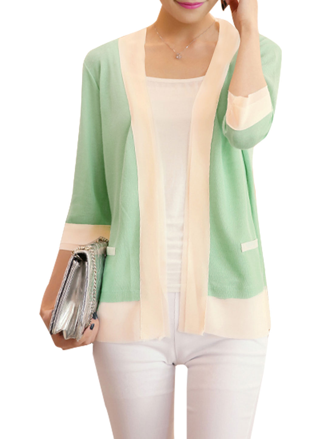 Ladies Three Quarter Sleeves Buttonless Casual Cardigan Mint XS