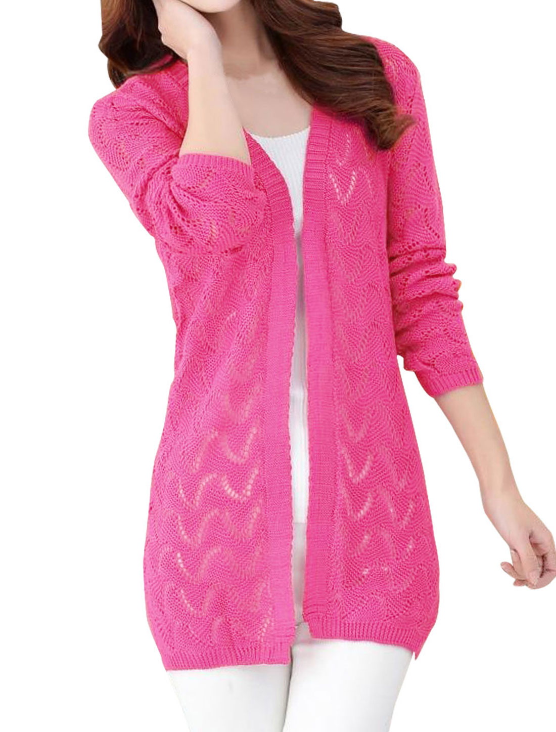 Woman Hollow Out Open Front Split Sides Casual Knit Cardigan Fuchsia S