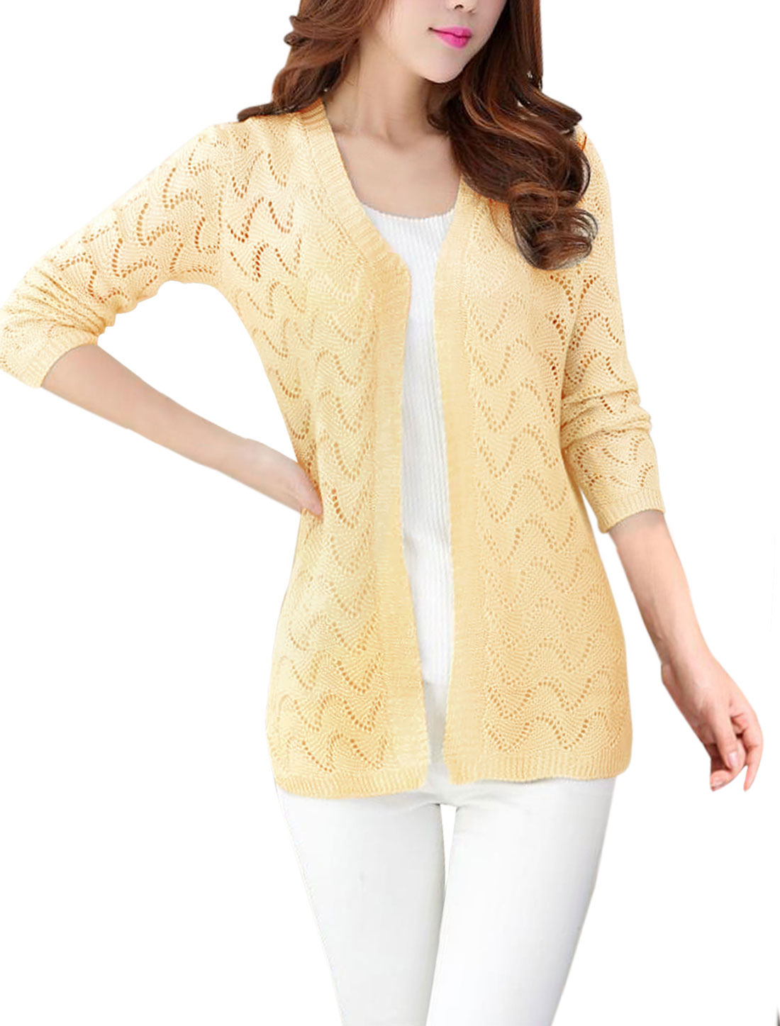 Lady Hollow Out 3/4 Sleeves Open Front Split Sides Knit Cardigan Cream S