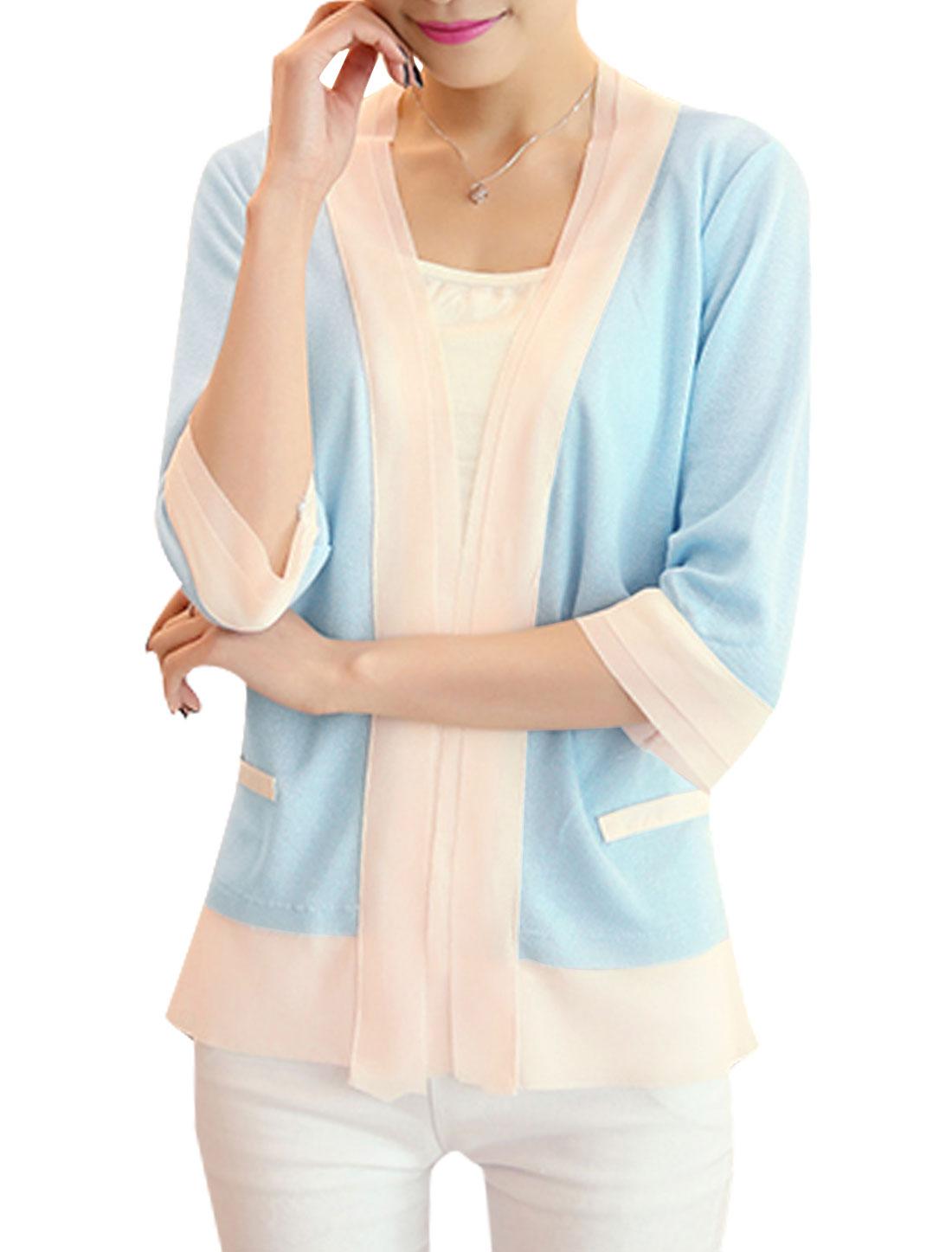 Women Buttonless Panel Design Casual Cardigans Light Blue XS