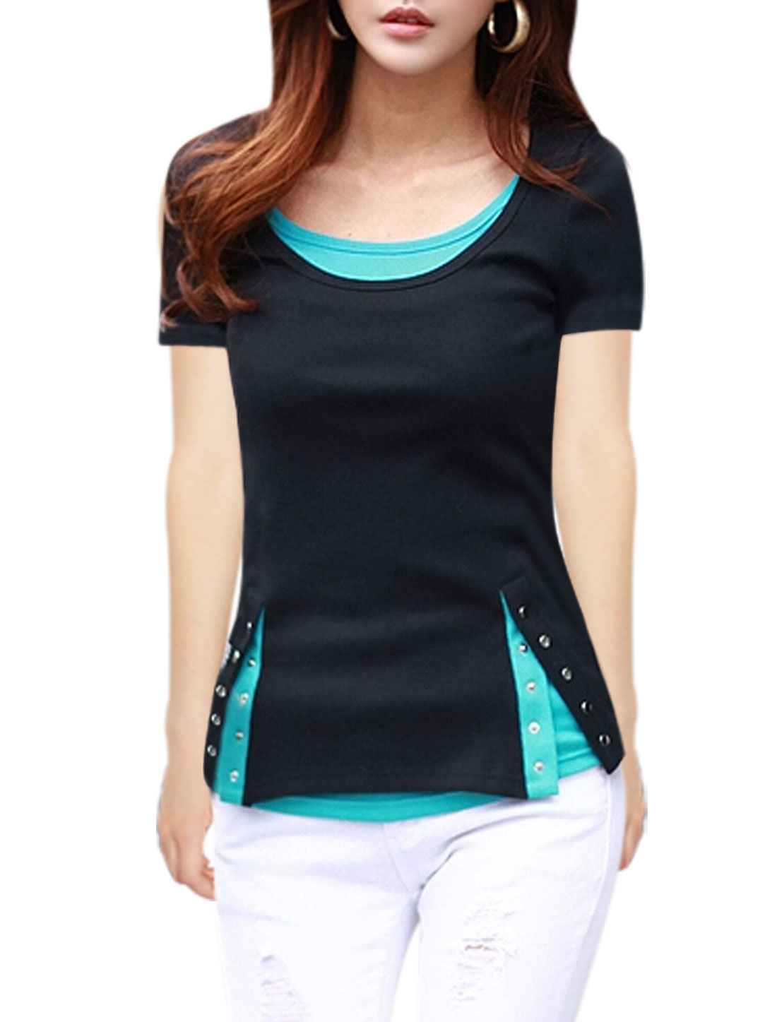 Lady Short Sleeves Color Blocking Layered T-Shirts Black M