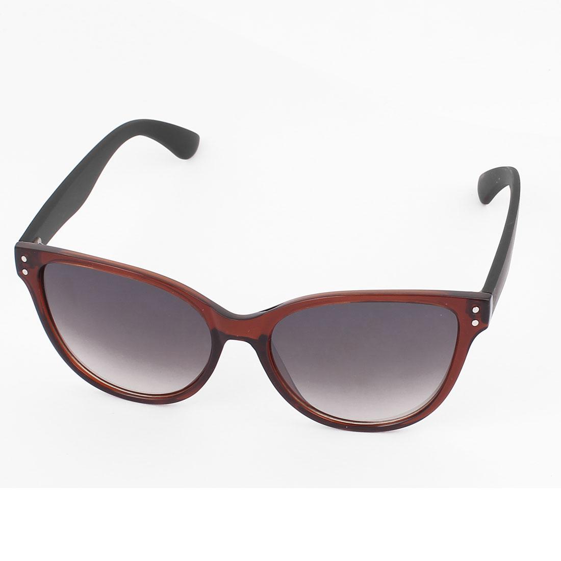 Unisex Plastic Full Frame Gradient Lens Single Bridge Sunglasses Eyeswear Glasses Eyes Protector Brown