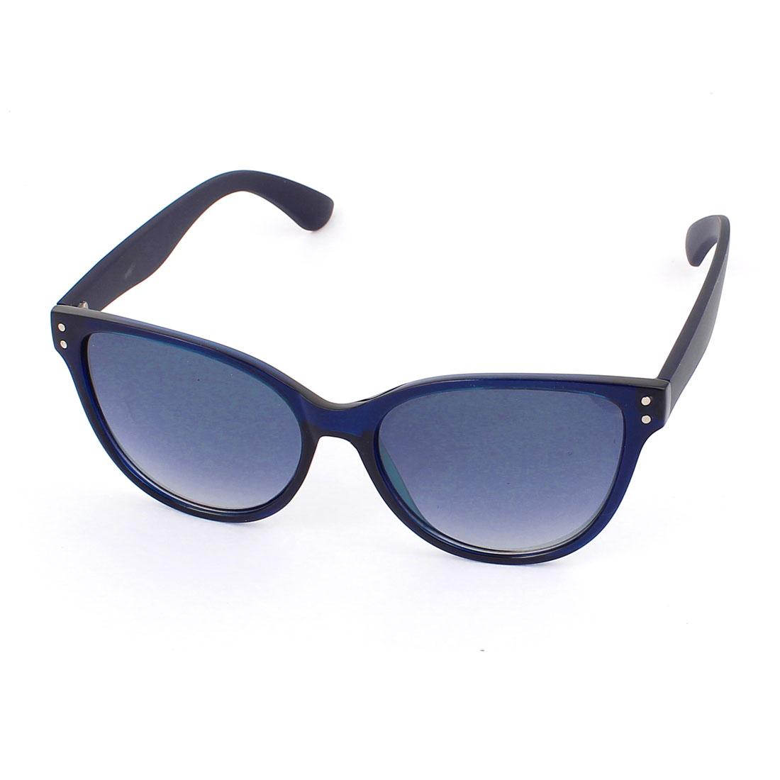 Unisex Plastic Full Rim Gradient Lens Single Bridge Sunglasses Eyeswear Glasses Eyes Protector Dark Blue