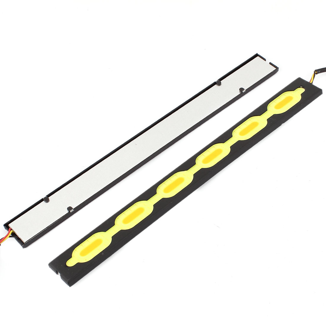 Pair DC 12-24V COB LED Car Daytime Running Driving Light White Yellow 20.5cm Length