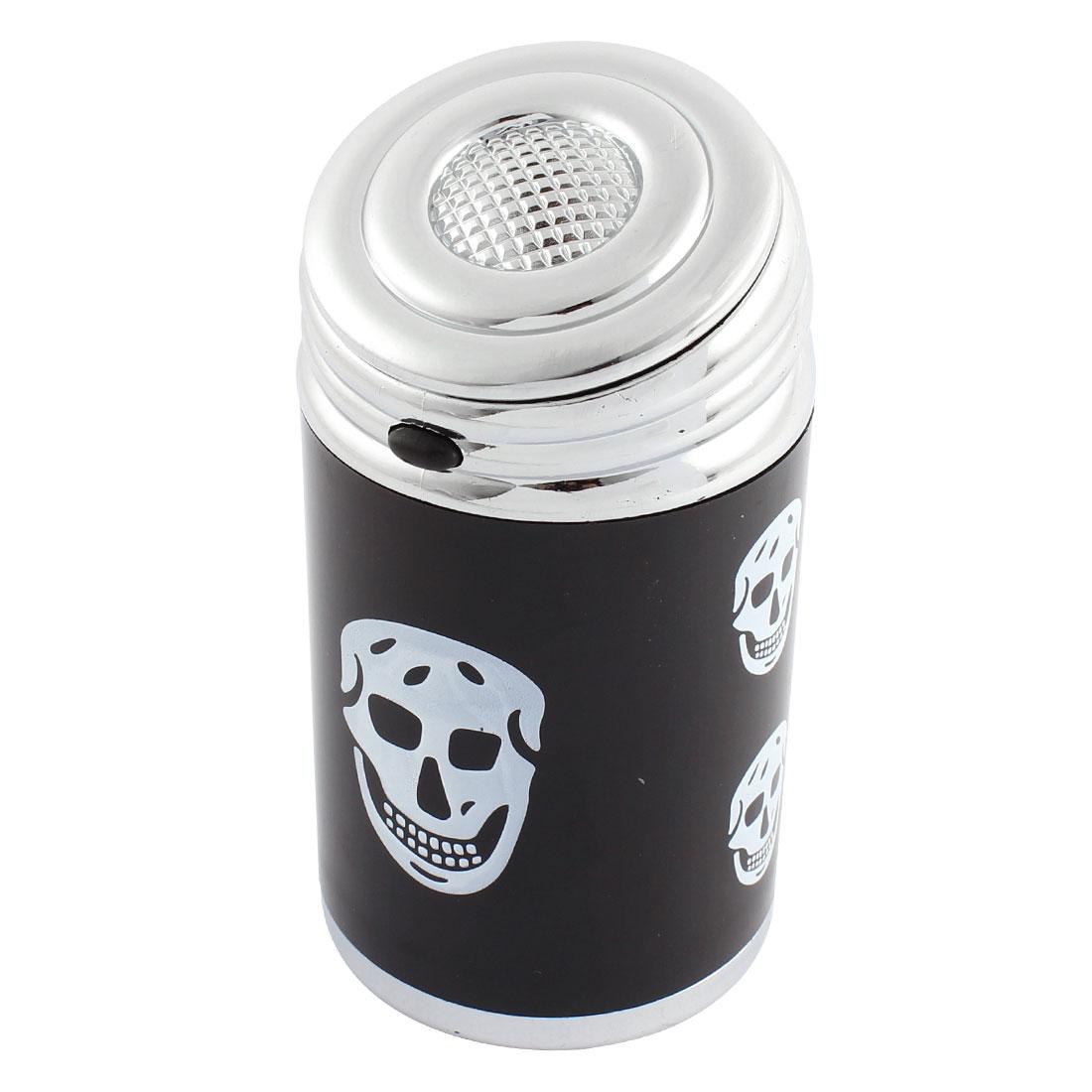 Car Skull Shaped Button Design Blue LED Ashtray Ash Holder Silver Tone Black