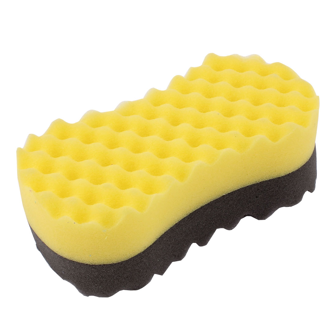 Car Auto Yellow Gray Bone Shaped Wavy Sponge Washing Cleaning Pad Block
