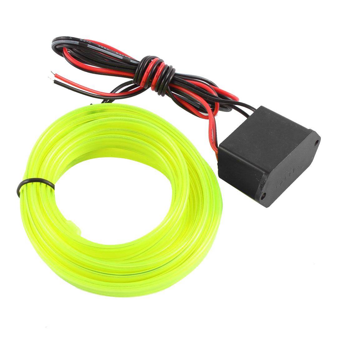 2M Long Flexible EL Wire Neon Light Dance Car Decor Yellow DC 12V