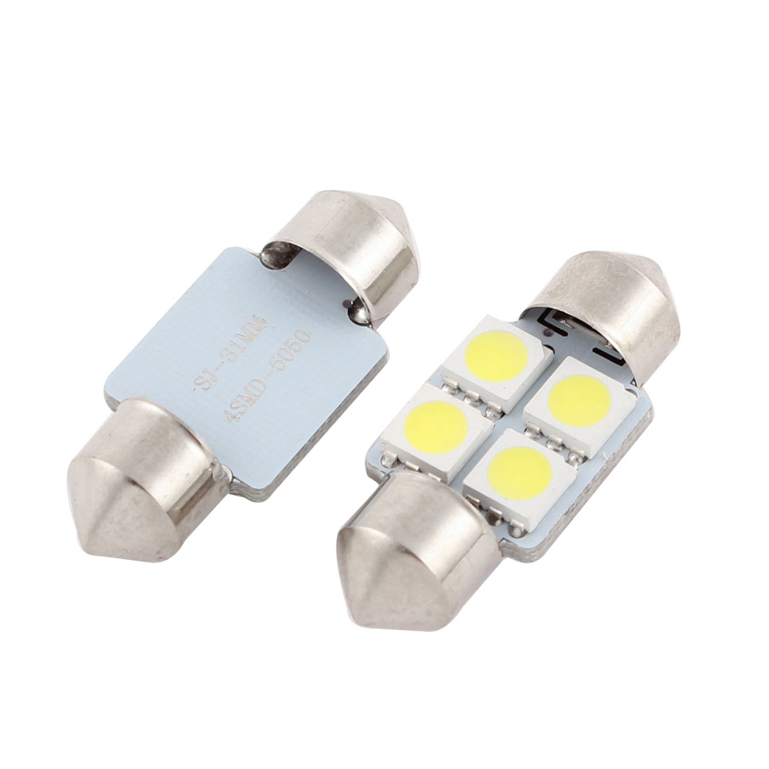 "2 Pcs White 4 LED 5050 SMD 31mm 1.25"" Festoon Dome Light 3175 DE3021 Internal"