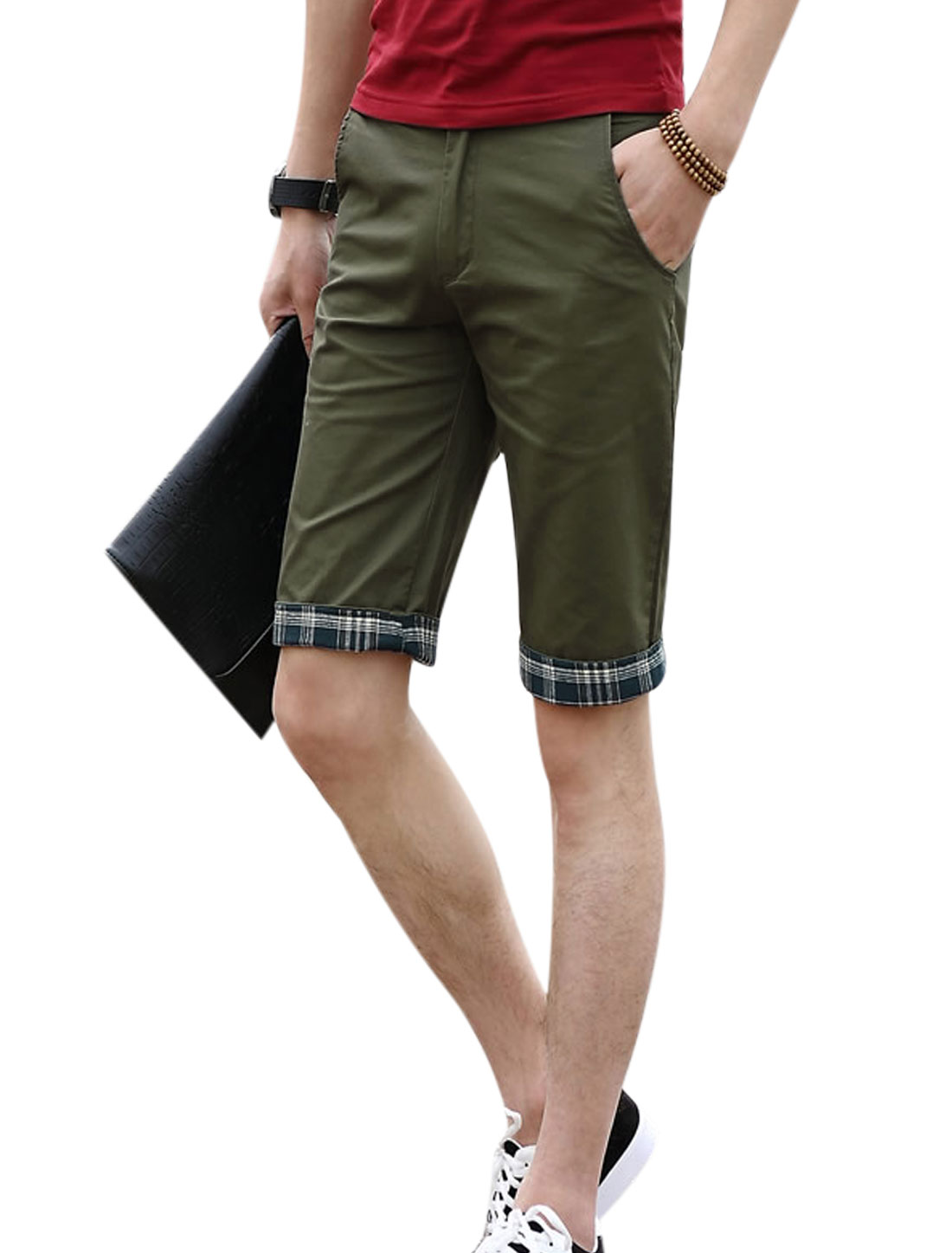 Men Mid Rise Zip Fly Belt Loop Pockets Slim Fit Shorts Army Green W36