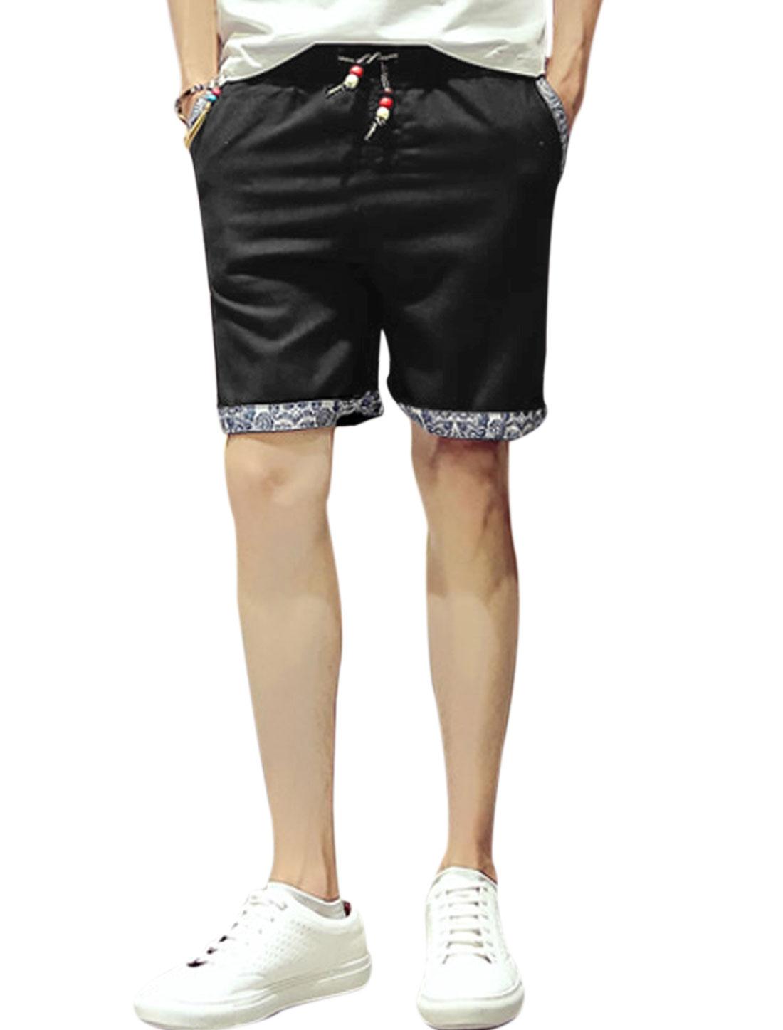 Men Beaded Elastic Drawstring Waist Pockets Side Casual Shorts Black W34