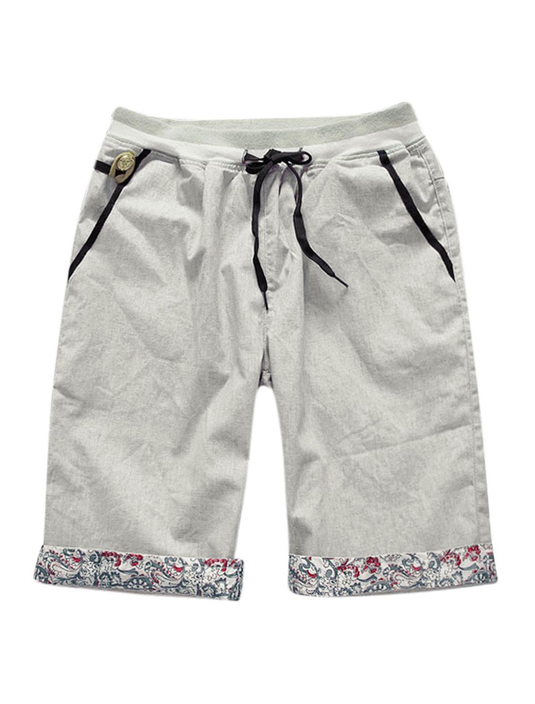 Man Ribbed Elastic Waist Slant Pockets Front Leisure Shorts Light Gray W34