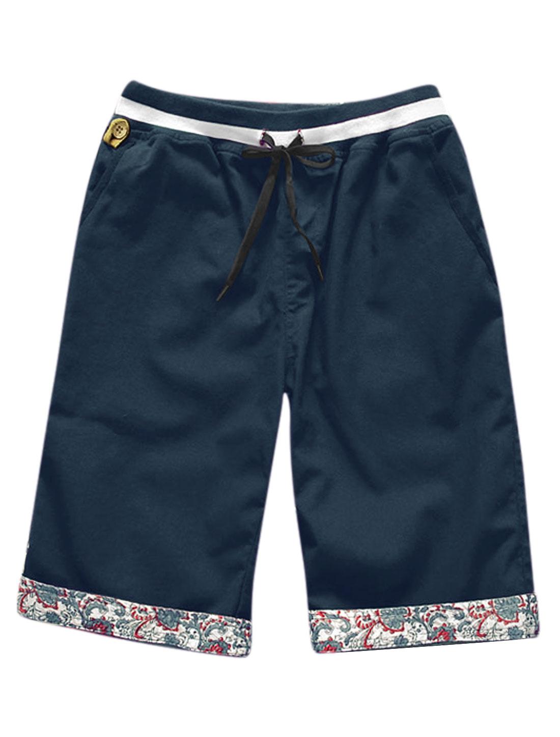 Man Ribbed Elastic Waist Band Button Decor Detail Shorts Navy Blue W34