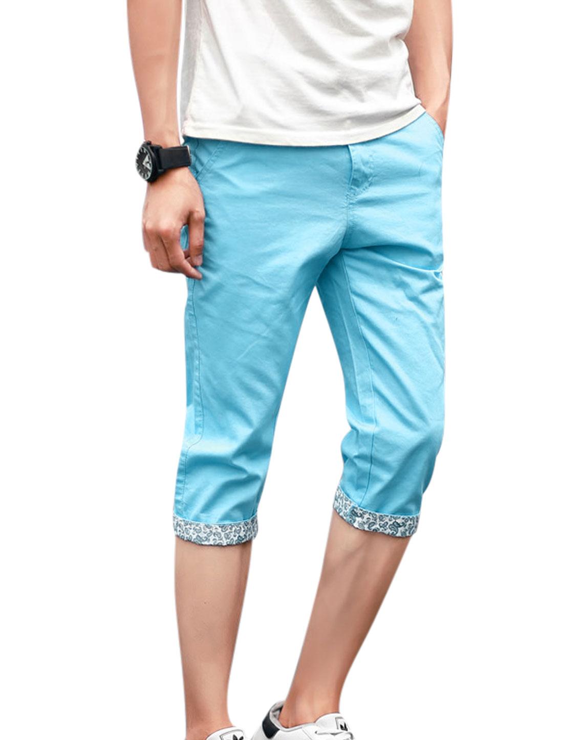 Men Mid Waist Zip Fly Front Pockets Capris Pants Sky Blue W32