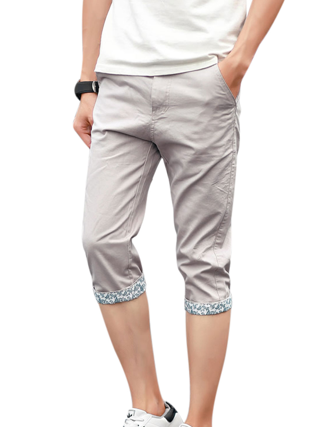 Men Mid Rise Zip Fly Pockets Slim Fit Capris Pants Light Gray W32