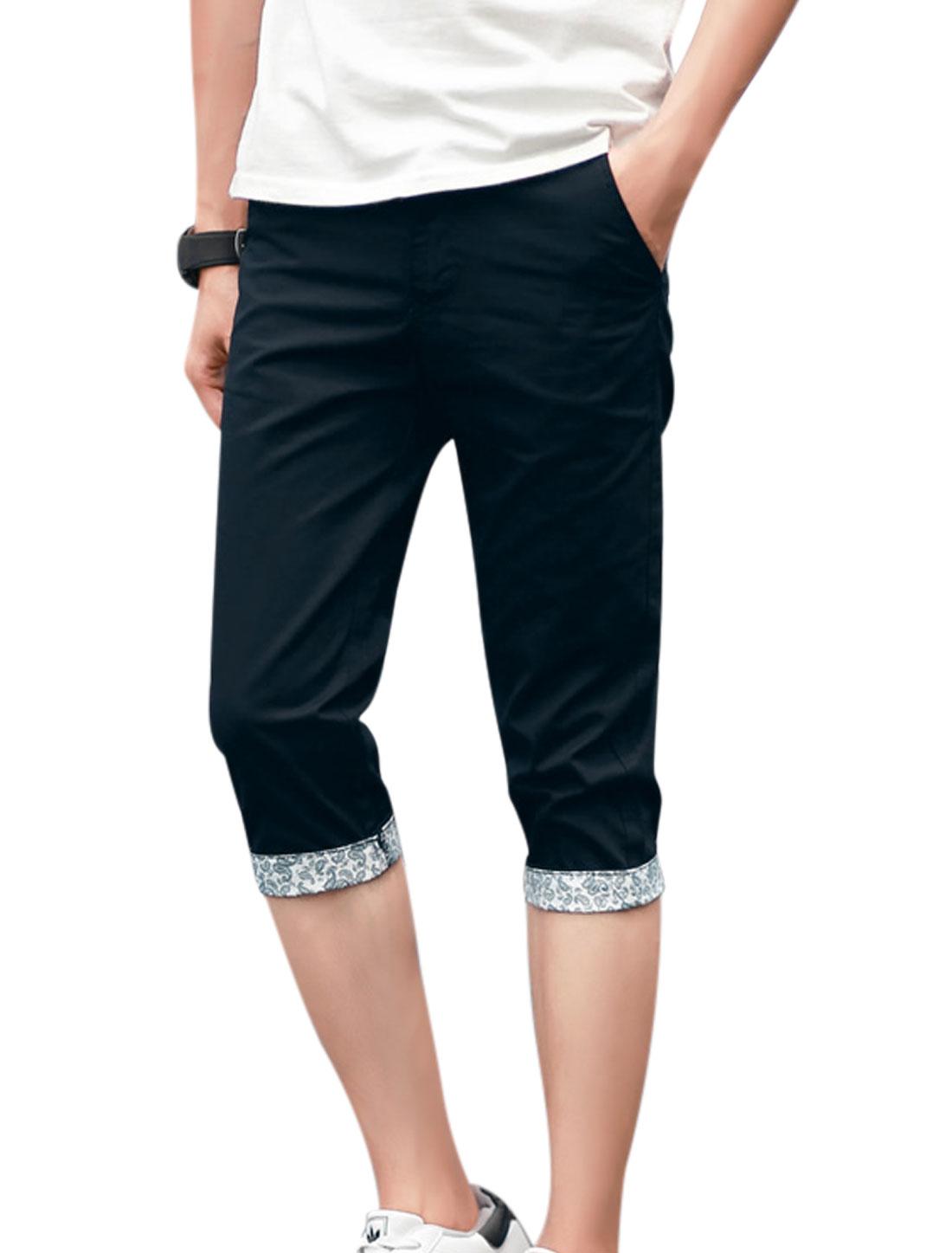 Men Mid Rise Zip Fly Pockets Casual Capris Pants Navy Blue W32
