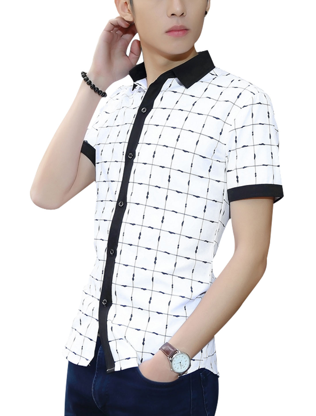 Men Checkered Pattern Contrast Color Shirts White M