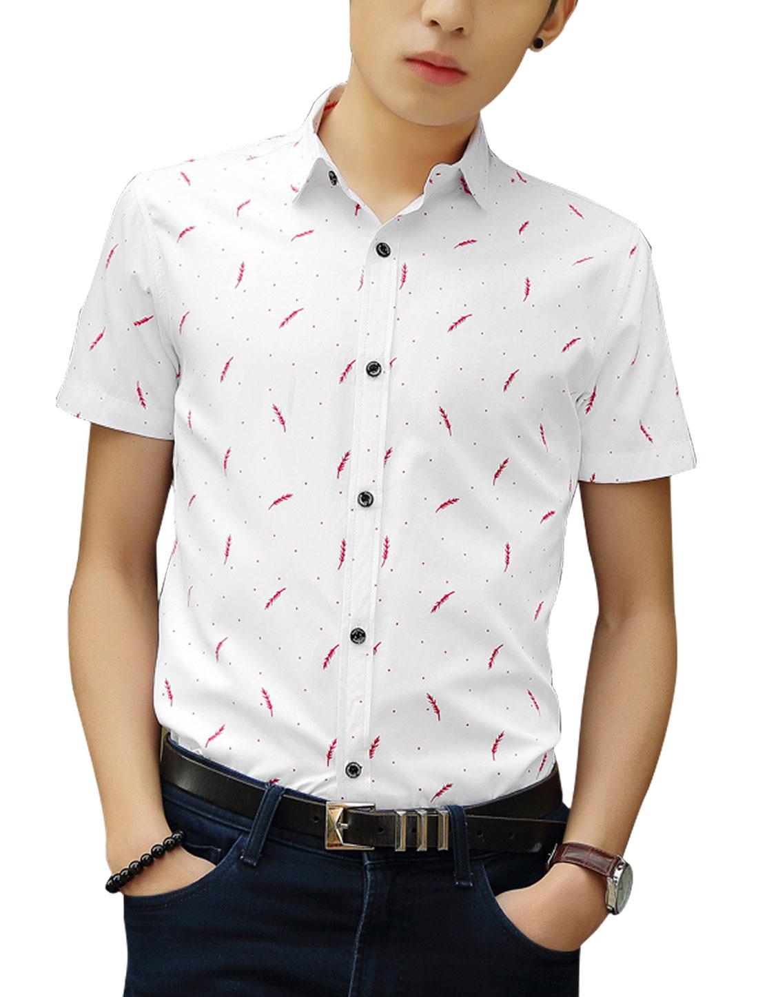 Men Leaves Pattern Short Sleeves Shirts Red White M