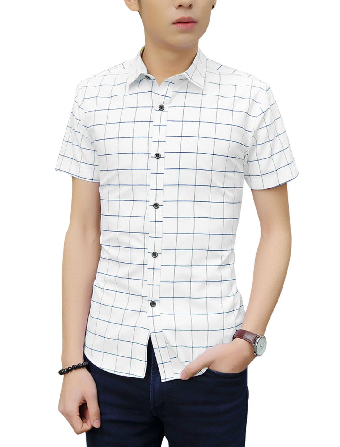 Men Point Collar Checkered Pattern Shirt Navy Blue White M