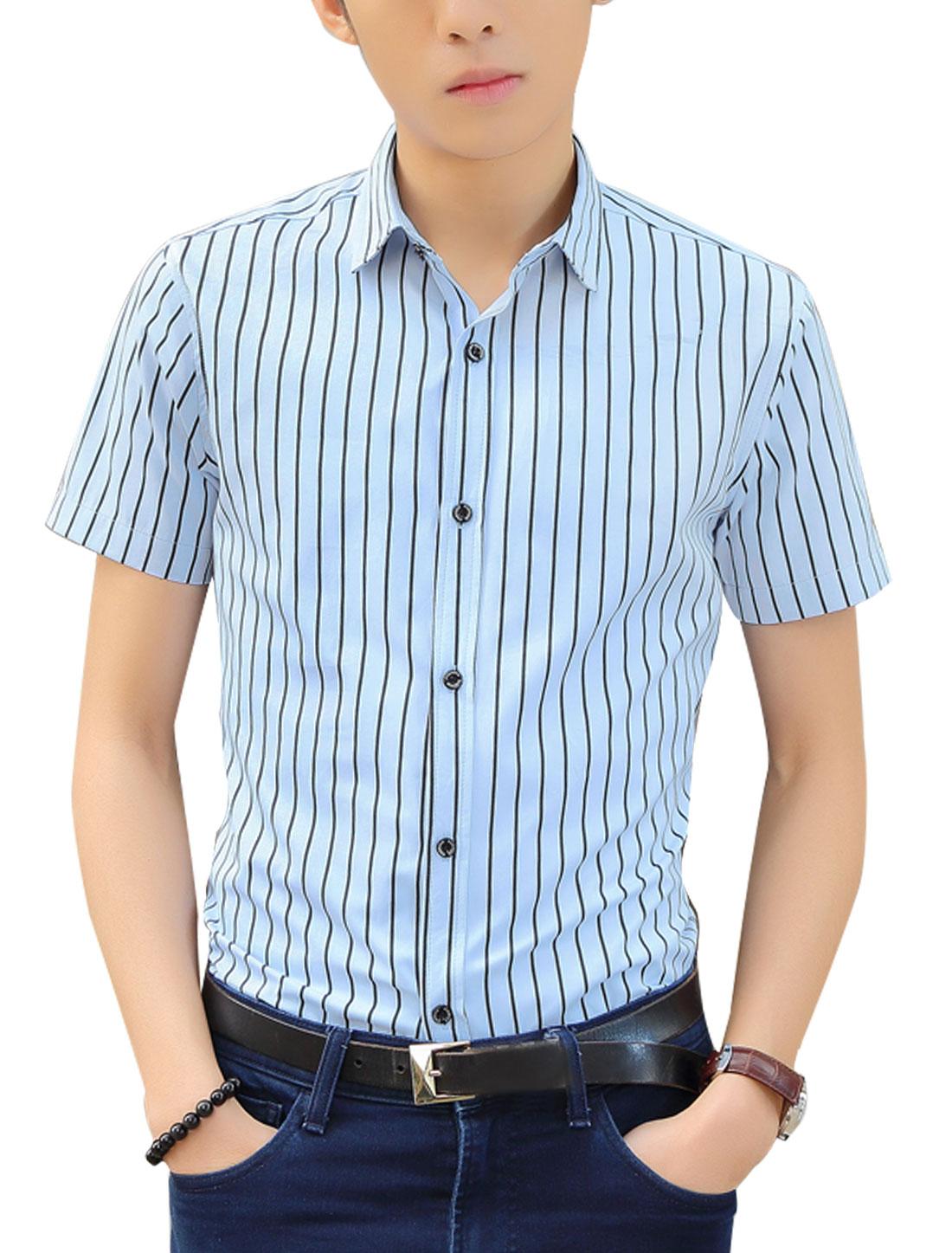 Men Short Sleeves Bar Striped Shirts Black Light Blue M