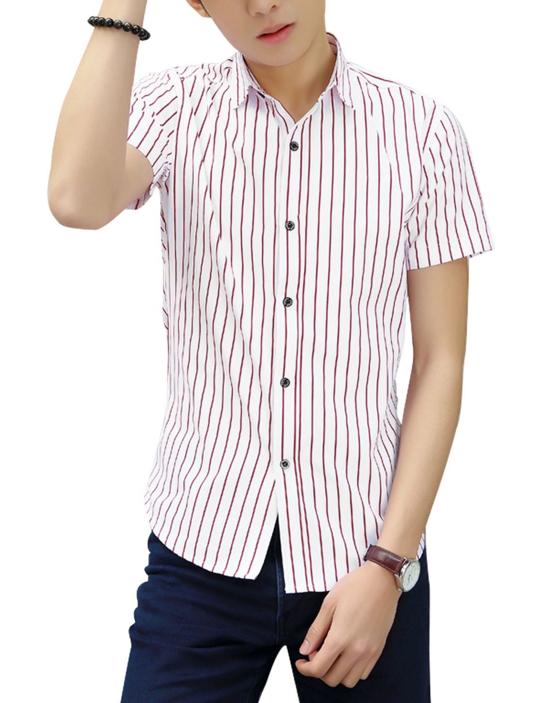 Men Short Sleeves Stripes Prints Shirts Red White M